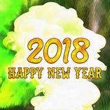 Guten Rutsch ins Neue Jahr Watercolor/2018 stock abbildung