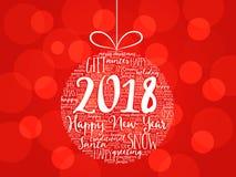 Guten Rutsch ins Neue Jahr 2018, Weihnachtsball Lizenzfreies Stockfoto