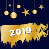 Guten Rutsch ins Neue Jahr, Weihnachtshintergrund mit Goldtext Vektor Vektor 2019 stock abbildung