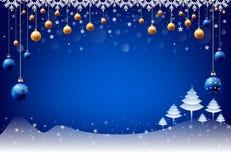 Guten Rutsch ins Neue Jahr-Weihnachtsschneiender Ballhintergrund, Texteingabekasten, blauer Hintergrund lizenzfreie abbildung