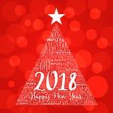 Guten Rutsch ins Neue Jahr 2018, Weihnachtswortwolke Lizenzfreies Stockfoto