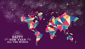 Guten Rutsch ins Neue Jahr-Weltdreieckhippie-Farbe 2016 Stockfotos