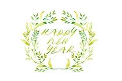 Guten Rutsch ins Neue Jahr-Wort mit Aquarellrahmen von Grünblättern und -re Stockfoto