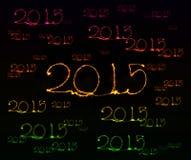 Guten Rutsch ins Neue Jahr - Wunderkerze 2015 Stockfotografie