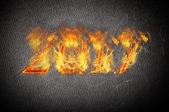Guten Rutsch ins Neue Jahr 2017 - Zahlen in der Flamme collage Lizenzfreies Stockbild