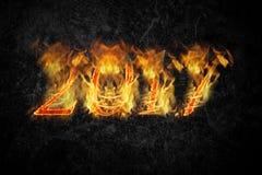 Guten Rutsch ins Neue Jahr 2017 - Zahlen in der Flamme collage Stockbilder