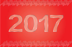 Guten Rutsch ins Neue Jahr-Zahlmetallblick Rot u. Silber Stockfotos