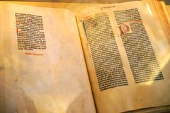 A Printed Page from History. The Gutenberg Bible is the first great book printed in Western Europe from movable metal type in 1455 at Mainz, Germany. Gutenberg royalty free stock images