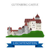 Gutenberg Castle in Liechtenstein flat vector attraction Royalty Free Stock Photo