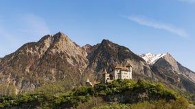 Gutenberg kasztel w Balzers, Liechtenstein Ten kasztel emblemat Balzers jest 70 metrami wysokimi nad wioską i był buil Obrazy Royalty Free