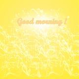 Gutenmorgen auf einem Hintergrund des Spritzens und der Wellen und des Glühens Lizenzfreies Stockfoto