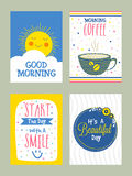 Gutenmorgen-Gruß-Kartensatz in der Gekritzelart Stockfoto