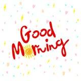 Gutenmorgen, Handbeschriftungstext, handgemachte Kalligraphie, Vektorillustration Stockbild