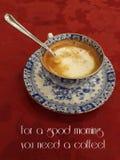 Gutenmorgen mit einem hei?en Kaffee stockbild