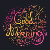Gutenmorgen-Plakat mit Beschriftung und Raum-Beschaffenheit lizenzfreie abbildung