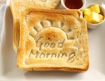 Gutenmorgen-Toast Stockfoto