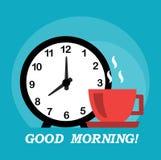 Gutenmorgen und Kaffee Stockfoto