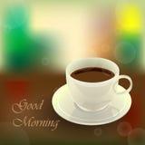 Gutenmorgen und Kaffeetasse Stockfotografie