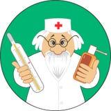 Guter Doktor mit Medizin lizenzfreie abbildung