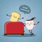 Guter Morgen des Morgenfrühstücks! Morgenkaffee Vektor Lizenzfreie Stockfotos