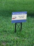 Gutes Nachbarzeichen Stockbild