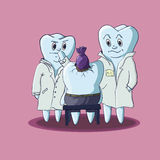 Guts. Two doctor-like teeth looking another tooth with head injury by sweet. Sweets it`s evil for teeth Stock Photos