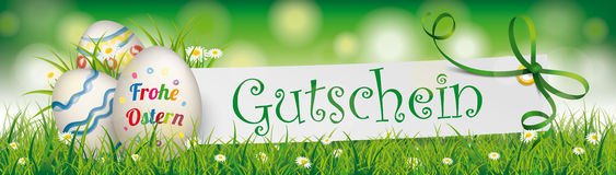 Gutschein Easter Egg Paper Green Ribbon Ostern Header. German text Frohe Ostern and Gutschein, translate Happy Easter and Coupon Stock Photos