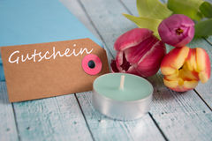 Gutschein - het Duitse woord voor coupon royalty-vrije stock foto