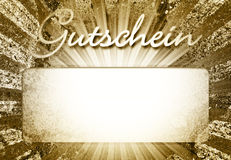 Gutschein illustration. An illustration with gold color and the German word Gutschein for coupon or a voucher Royalty Free Stock Images