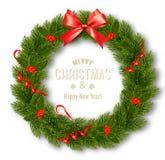 Gutschein mit Weihnachtskranz und -bogen vektor abbildung