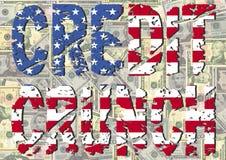 Gutschrift-Knirschen mit amerikanischer Flagge lizenzfreie abbildung