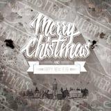 Gutshof-Retro- alt-aussehende Weihnachtskarte Stockfoto