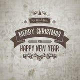 Gutshof-Retro- alt-aussehende Weihnachtskarte auf gealtertem beflecktem Papier Stockfoto
