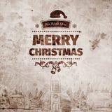 Gutshof-Retro- alt-aussehende Weihnachtskarte auf gealtertem beflecktem Papier mit Ansicht des Dorfs Lizenzfreie Stockfotografie