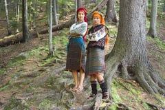 Gutsulka在喀尔巴阡山脉的森林里 免版税库存照片