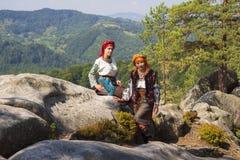 Gutsulka dans la forêt carpathienne Photo stock