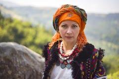 Gutsulka dans la forêt carpathienne Image libre de droits