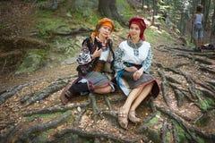 Gutsulka dans la forêt carpathienne Images libres de droits