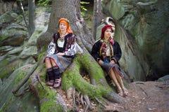 Gutsulka dans la forêt carpathienne Photographie stock