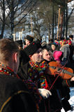 Gutsuls are playing Christmas carols Royalty Free Stock Images