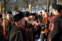 Gutsuls are playing Christmas carols,Ukraine Stock Photography