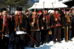 Gutsuls are playing Christmas carols,Ukraine Stock Image