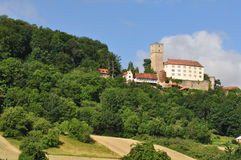 Guttenberg castle in Neckar valley. Along the Neckar's valley in the Odenwald hills many castles can be found, including Burg Guttenberg Royalty Free Stock Photography