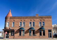 Guttenberg State Bank. This is a Spring picture of the historic state bank located in Guttenberg, Iowa.   The bank built in 1902 is an example of Victorian Stock Photo