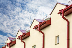 Gutter drainage system on the roof royalty free stock photos