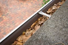 Gutter filled with leaves Royalty Free Stock Images