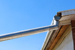 Gutter on the roof Royalty Free Stock Photos