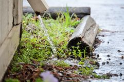 Gutter spews rain water. Rain water streams out of old gutter Royalty Free Stock Image