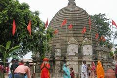 View of Kamakhya Temple, Guwahati, Assam. GUWAHATI, ASSAM, INDIA - JULY 4, 2014 : Hindu Sadhu and devotees at Kamakhya Temple or Kamrup-Kamakhya temple Stock Images