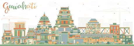 Guwahati Indien stadshorisont med färgbyggnader Royaltyfri Foto